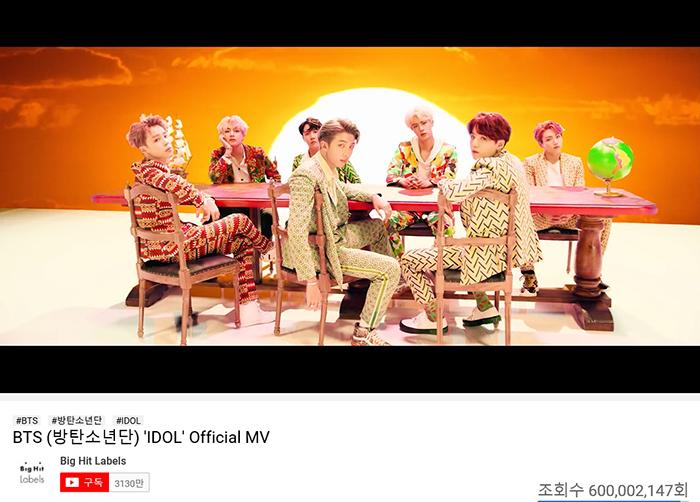 BTS、「IDOL」ミュージックビデオ再生回数6億回突破!韓国アーティスト最多6億回記録!