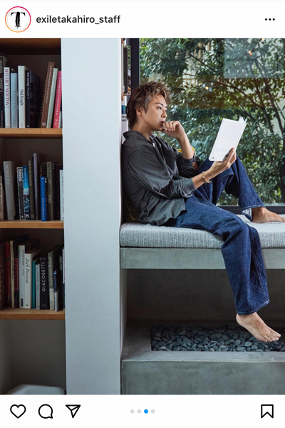 EXILE TAKAHIRO、じゃらんの未公開ショットで裸足の読書姿を公開!「脚の指も長い」