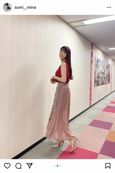 鷲見玲奈、桜色のノースリーブで二の腕を披露!「美し過ぎるのよ」