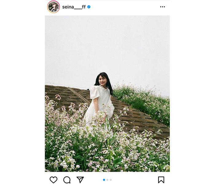 AKB48 福岡聖菜、父撮影の絵画のような白ワンピースショットで魅了